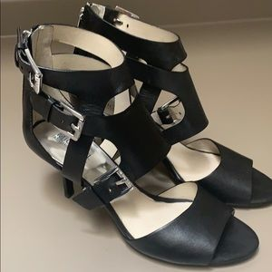 Michael Kors sexy black buckle open toe heels 9.5